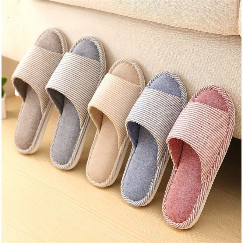 亚麻棉拖鞋家居男女情侣拖鞋女夏室内厚底防滑地板居家凉拖鞋夏季