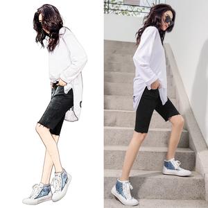 五分裤女高腰牛仔短裤夏季薄款韩国中裤2021年新款弹力紧身骑行裤