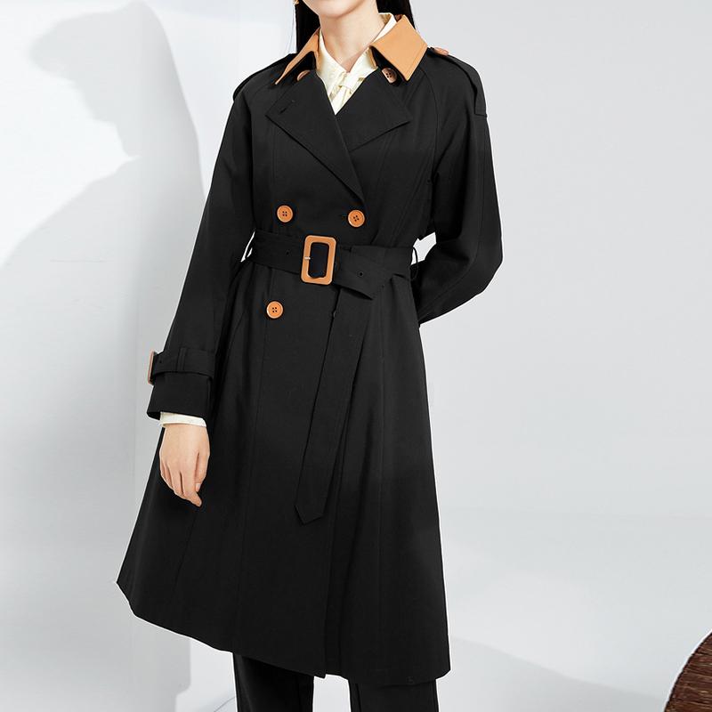 商场同款伊芙丽2021新款春装韩版长款拼接大衣风衣外套1C2160181