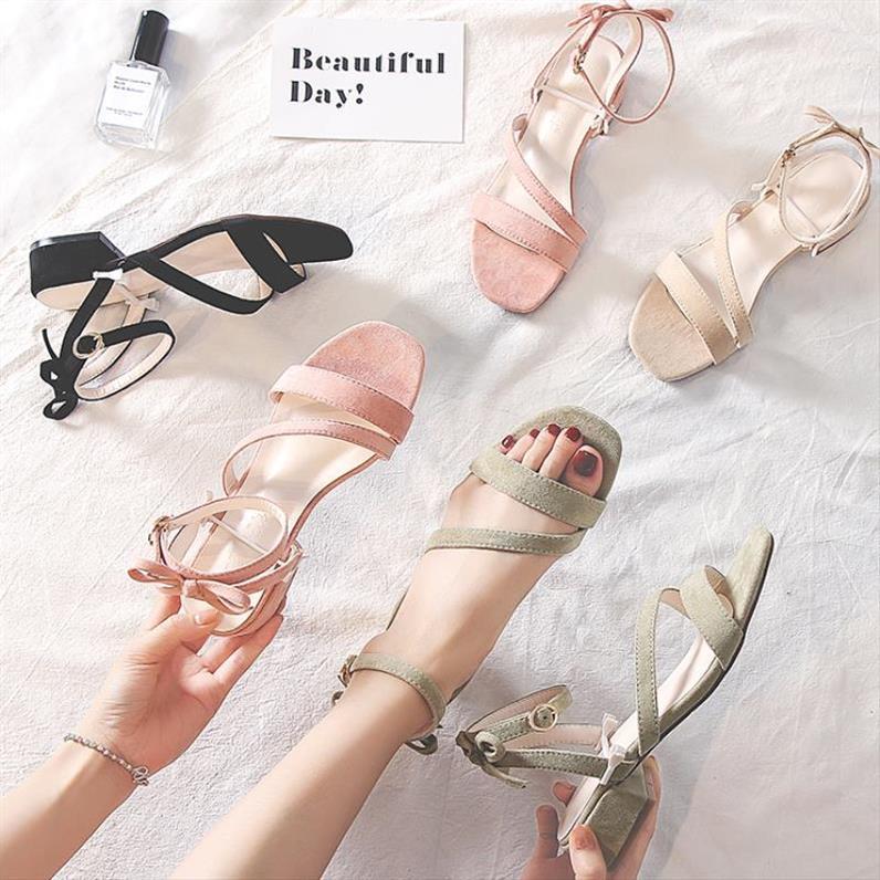 新款春性感仙女凉鞋网红复古风魔术贴一字新绑带搭夹趾中跟运动风