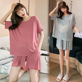孕妇装夏装莫代尔家居服套装夏天宽松短袖睡衣托腹睡裤纯色两件套