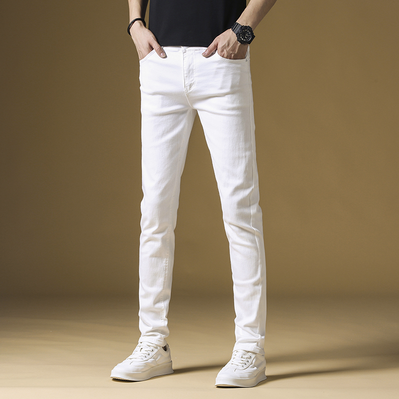 High end summer white jeans mens slim fit small feet Korean fashion elastic casual casual pants mens thin