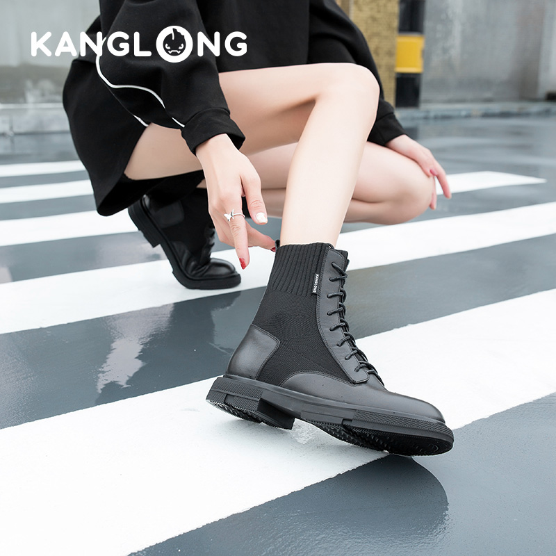 [store delivery] KANGLONG 2020 new knitted stitched leather elastic middle tube Martin boots thin womens Boots