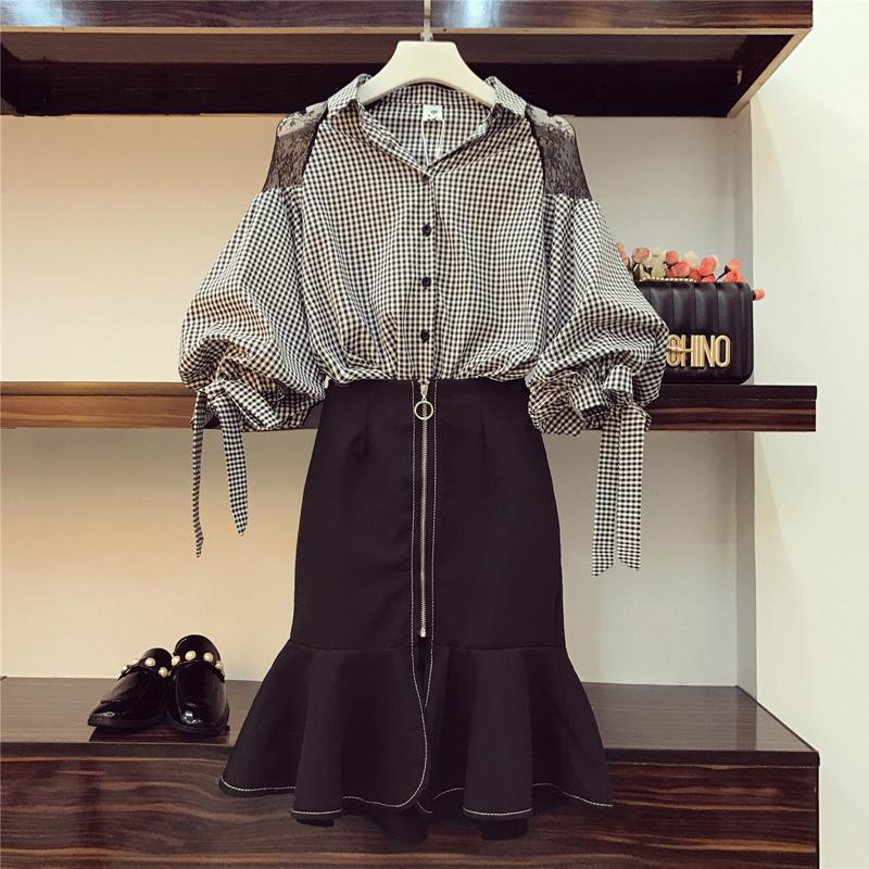 胖mm最爱2018春装大码女装微胖洋气显瘦套装减龄衬衫加裙子两件套