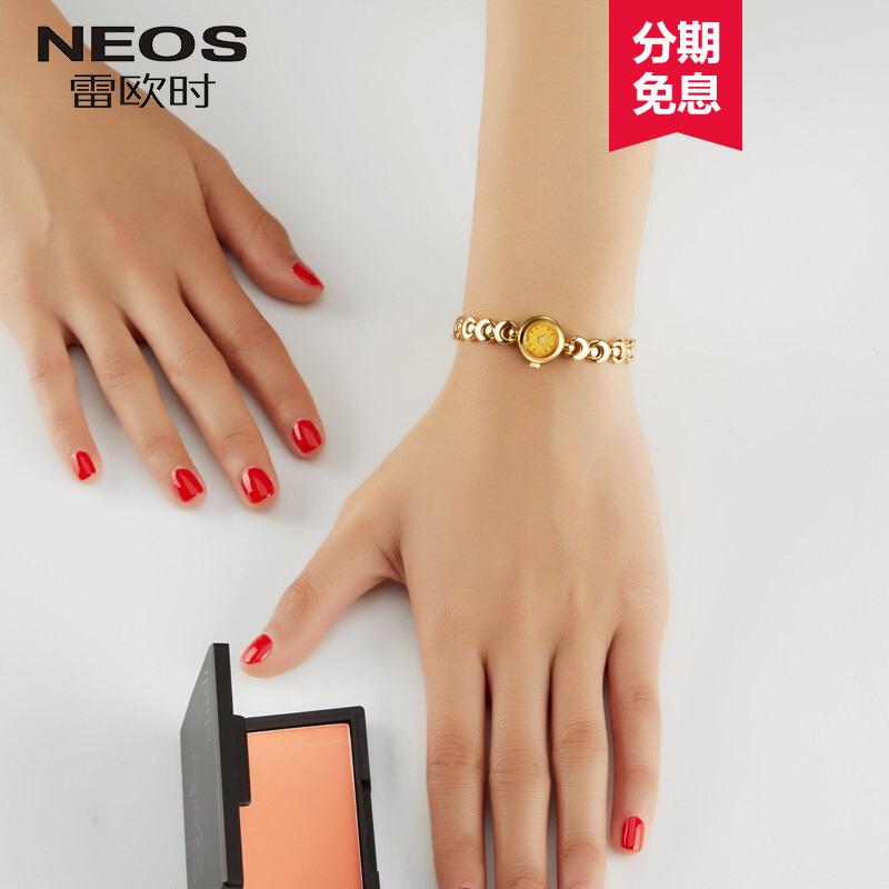 雷欧时潮流大气小表盘手链女士手表防水时尚2018新款金色链条网红