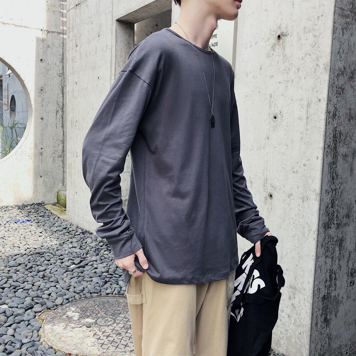 秋季港风情侣潮男韩版宽松纯色圆领卫衣外套长袖T恤W8002AP45控59