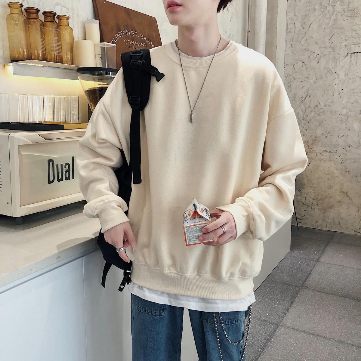 秋季港风情侣潮男韩版宽松纯色圆领卫衣外套长袖T恤W8001BP45控59