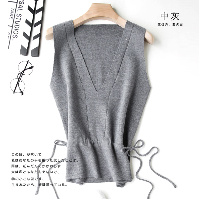 New 20V collar short sweater with drawstring waist and ruffle hem cashmere vest womens knitting shoulder