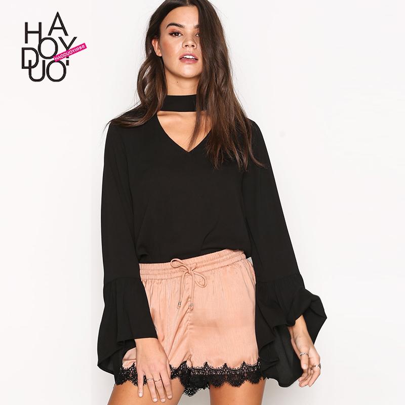 Haoduoyi2019春季新款女装 时尚纯色领口绑带装饰喇叭袖衬衫