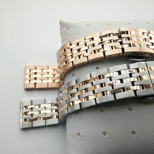精钢表带男22不锈钢金属表带钢带配件女18玫瑰金手表链20mm蝴蝶扣