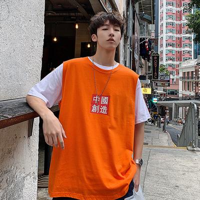 2019夏季港风新款男中国创造文字背心T恤马甲坎肩潮504-T792-P23