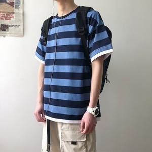 @泡面小哥 假两件夏季宽松潮流韩版圆领条纹男女情侣短袖T恤上衣