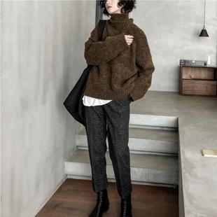 貉子毛慵懒宽松气质高领外穿毛衣女冬季百搭羊毛加厚套头外套
