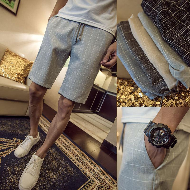 Fattening mens new summer casual shorts 200kg fat 5XL checked Shorts Youth pants fashion