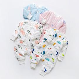 2019年新款宝宝秋冬款夹棉童装婴儿长袖纯棉纱布儿童分腿加厚睡袋图片