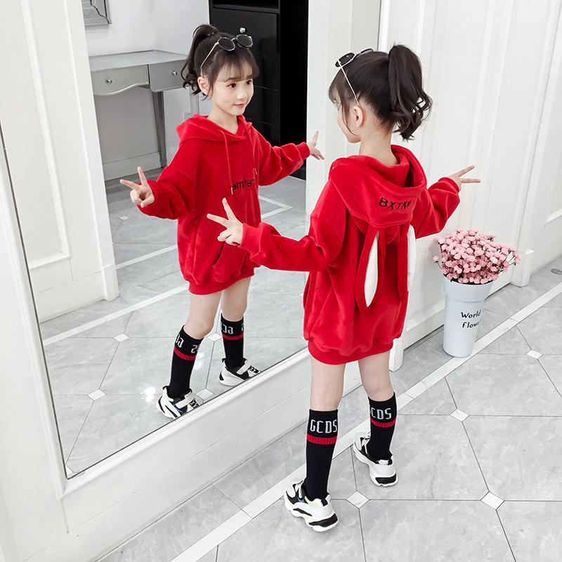 女童长款加绒卫衣