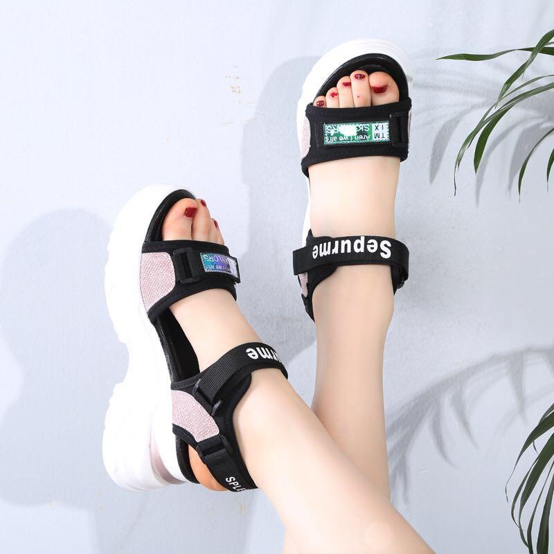 2020夏季新款凉鞋内增高运动休闲女鞋厚底平底松糕罗马女凉鞋