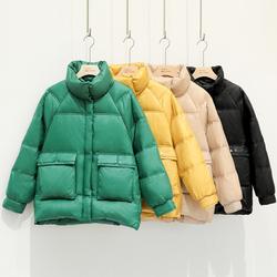反季羽绒服女短款2020年新款韩版冬时尚宽松小个子亮面面包服外套