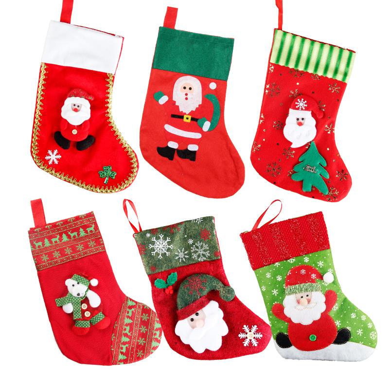 Рождество декоративный статья ребенок рождество носки подарок мешок дерево кулон s старики носок конфеты подарок партия волосы