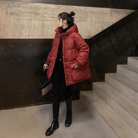 2020冬装新款加厚欧洲站韩国时尚羽绒服女百搭牛角扣连帽短款韩版