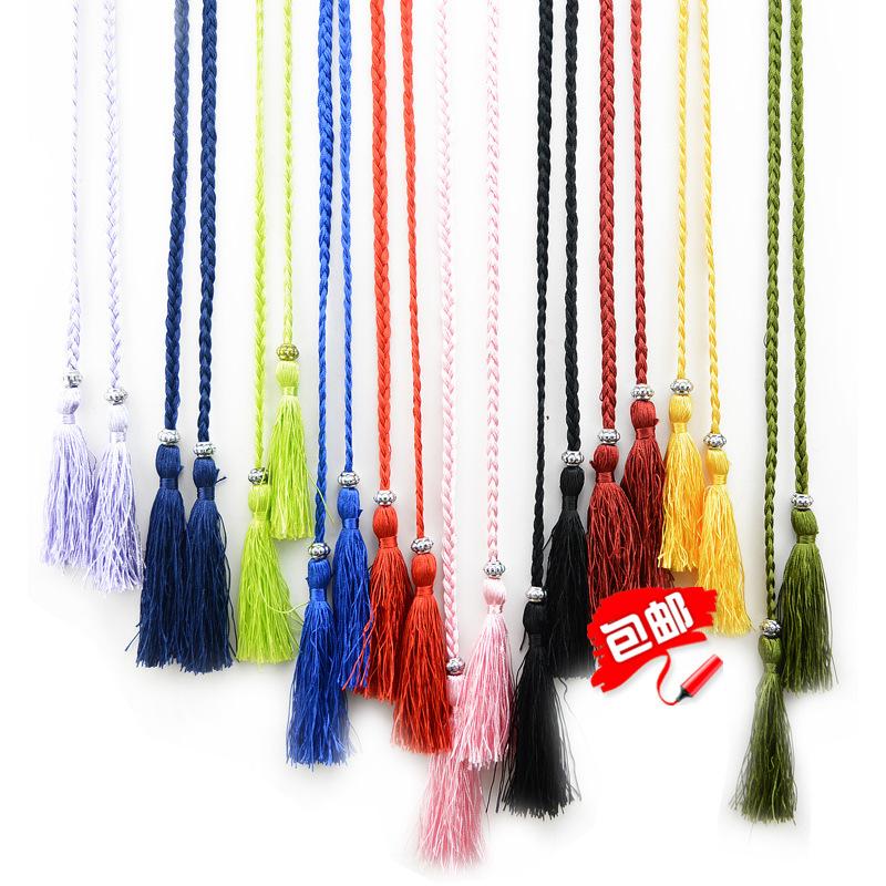 Knitting new yellow and white tassel belt slim womens bow rope skirt knot decoration waist rope