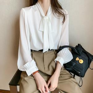 蝴蝶结职业装白色2021春季新款衬衫
