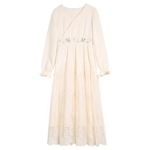 微笑向暖復古交領刺繡拼網紗仙女裙氣質收腰女2020夏裝新款連衣裙