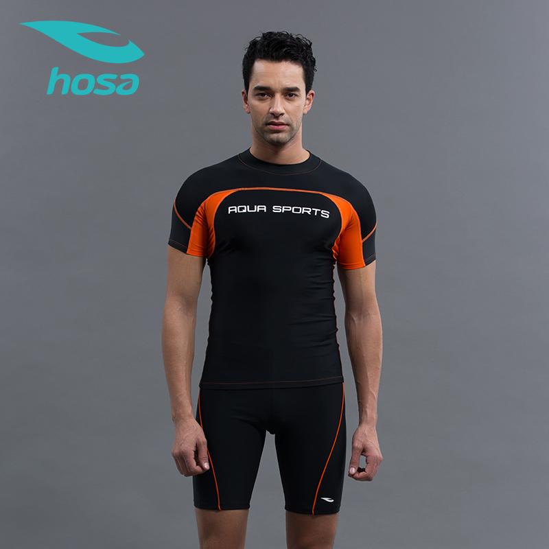 hosa浩沙男冲浪泳衣分体潜水快干2018新款泳裤两件套装118117201