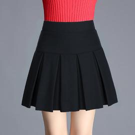 女短裙黑色半身裙秋冬厚款打底裙大码松紧腰显瘦百褶裙防走光裤裙图片