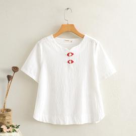 棉麻上衣女复古原创民族风刺绣t恤宽松盘扣短袖亚麻女装白色长袖