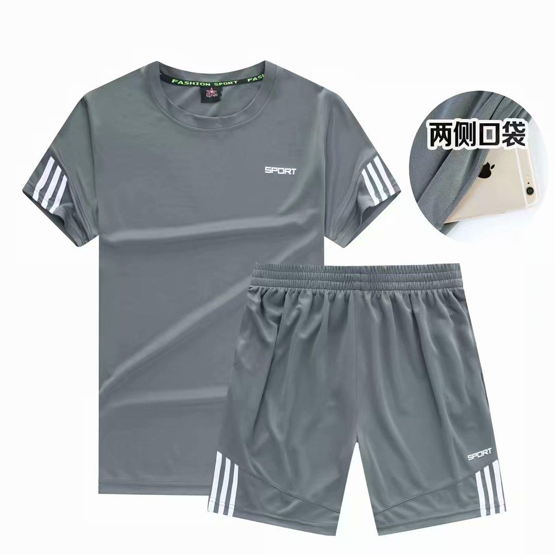 夏季新款男士套装2018短袖纯色T恤半袖体恤运动休闲套装潮流男装