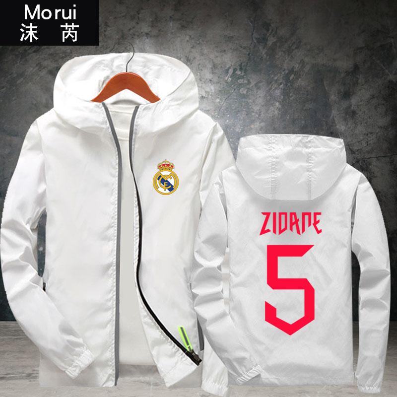 Zidane齐达内连帽夹克男女皇马主教练足球迷服运动休闲外套薄拉链,可领取2元天猫优惠券