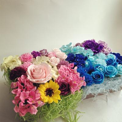 diy鲜花包装香皂花永生花盒礼品盒礼物盒拉菲草填充物仿真花