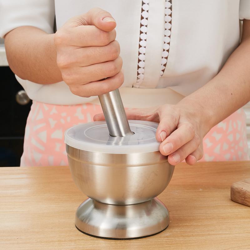 康之潤壓蒜器搗藥罐不鏽鋼搗蒜器嬰兒研磨器石臼碎盅缽廚房小工具
