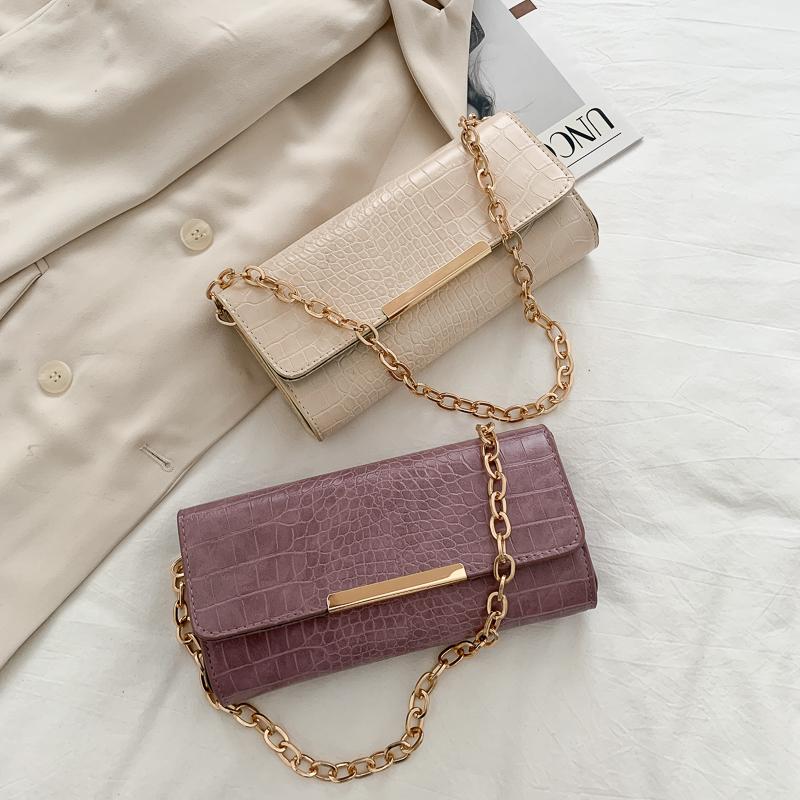 包包女2020春夏新款潮时尚链条鳄鱼纹小方包法国小众单肩包腋下包