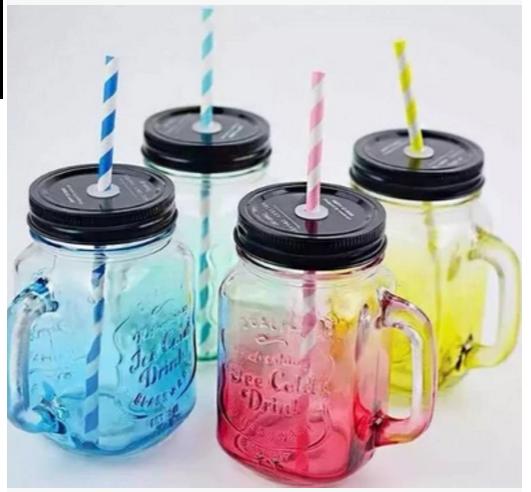 创意渐变彩色玻璃杯水杯饮料杯带盖公鸡杯奶茶杯字母杯梅森杯新品