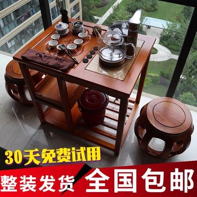 实木功夫茶几茶桌椅组合移动家用小型桌子小茶台阳台茶具套装一体