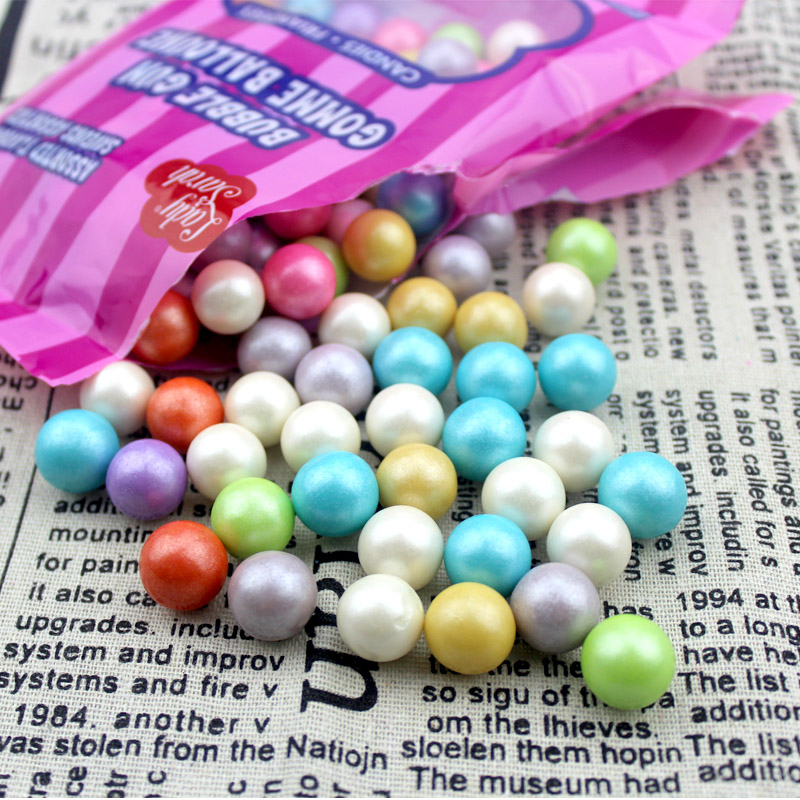 Childrens interest pearl gum polychrome ball type fluorescent ball bubble gum leisure gum 120g bag with 10 mm granules