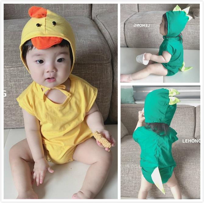 现货韩国正品百天宝宝可爱恐龙短袖爬爬服 动物造型三角连体哈衣