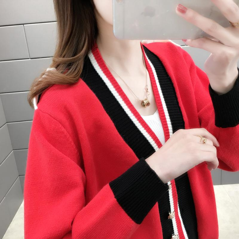 Tx12628 spring / summer 2020 new button cardigan womens T-shirt loose long sleeve sweater for women