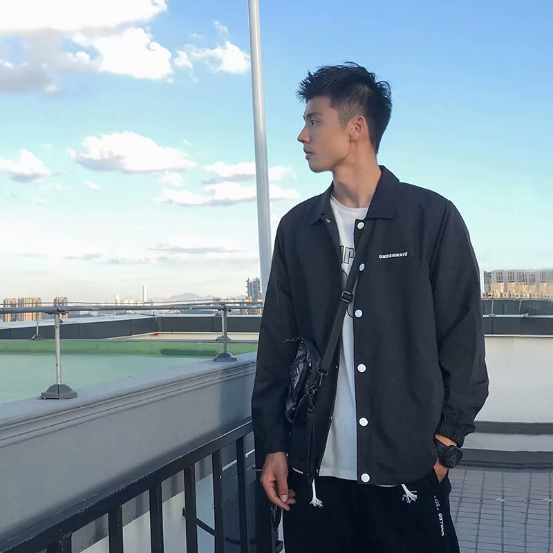 American leisure coach jacket mens 2019 new autumn loose sports coat student couple thin top fashion
