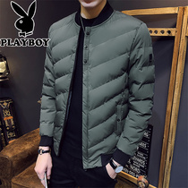 Playboy Winter Mens cotton Coat Short Korean version 2018 new cotton-padded jacket trend vertical collar mens Clothing