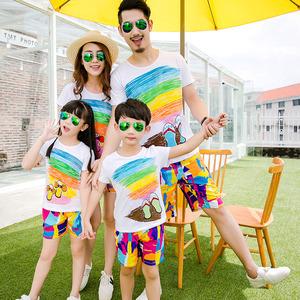 一家三口亲子装沙滩裤套装夏装家庭装女童宝宝上衣短袖t恤春夏季