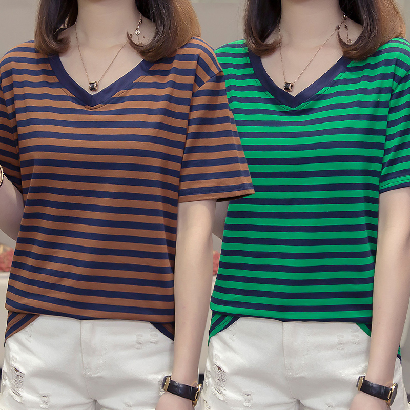 Stripe 2021 summer new pure cotton short sleeve T-shirt womens soil blood sports casual top bottomed small shirt