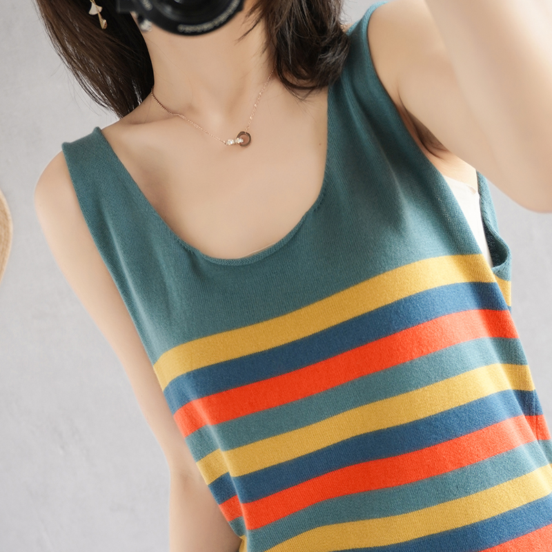 Thin pure cotton striped suspender vest for women to wear Korean loose and thin summer top with knitted bottom shirt inside