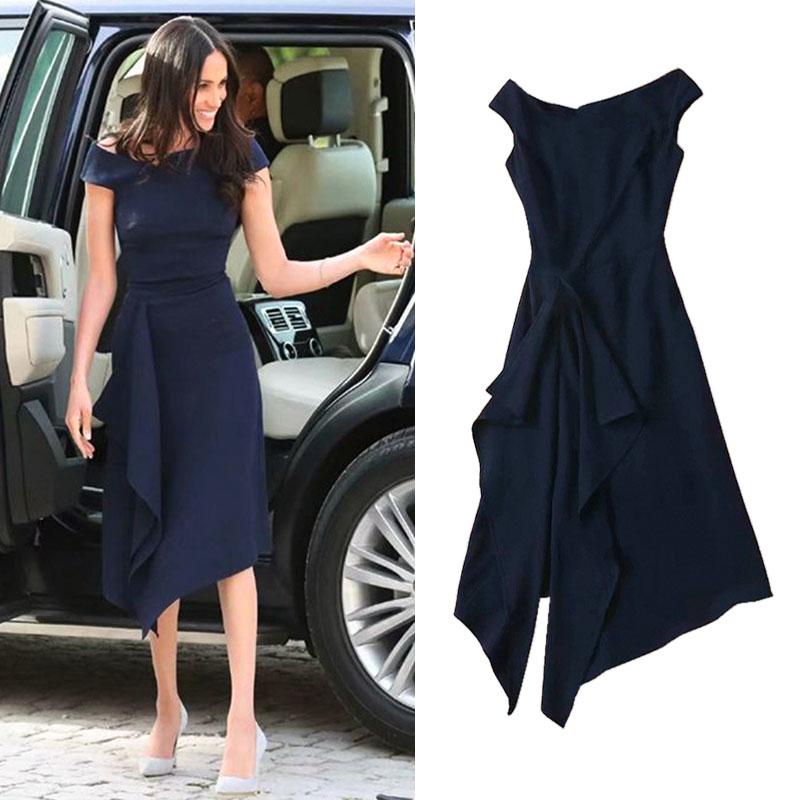 新品欧洲站2020夏王妃梅根同款优雅气质一字领不规则中长款连衣裙