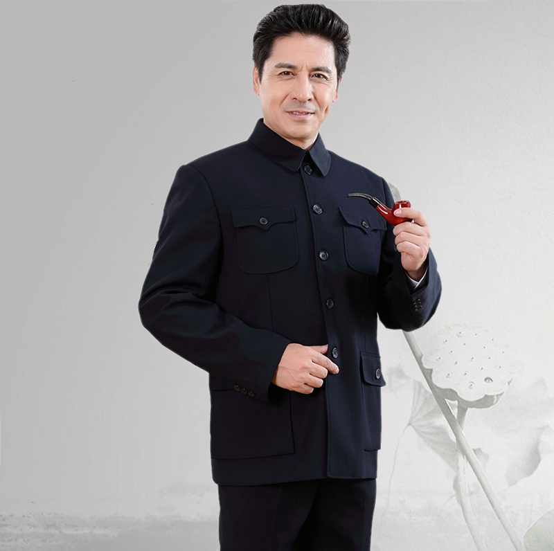 Spring and autumn thin coat, Zhongshan suit, middle-aged and old mens fathers dress, Zhongshan suit, old mens Retro coat of the Republic of China