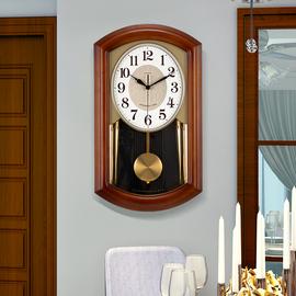 音乐报时实木挂钟中式复古客厅装饰摇摆挂表家用创意个性静音时钟