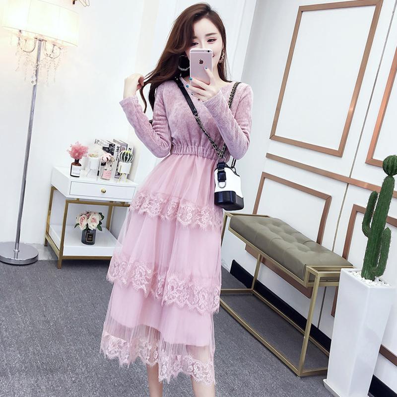 2018新款秋冬女装韩版圆领针织拼接网纱蕾丝蛋糕裙收腰过膝连衣裙