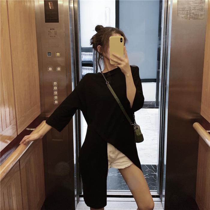 2019夏季新款网红开叉宽松中长款中袖t恤裙子洋气纯色打底上衣女35.96元包邮